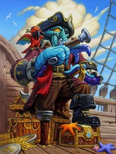 Card Name: Southsea Squidface Artist: Mike Sass World Of Warcraft Wallpaper, Hearth Stone, Eldritch Horror, Creepy Monster, Pirate Art, Pirate Adventure, Creature Concept, Game Art, Character Art