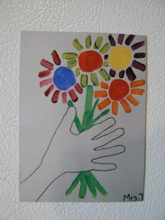 "Picasso ""hands holding flowers"" lesson.  Do observational drawing of hand."
