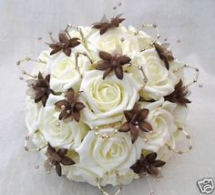 brown,blue, ivory wedding | ... POSY BOUQUET IN IVORY, BROWN AND GOLD, ARTIFICIAL WEDDING FLOWERS