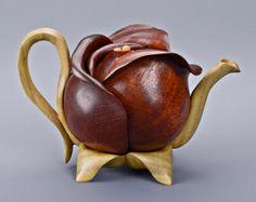 Denise Nielsen and George Worthington wood art Peony tea pot. Denise Nielsen and George Worthington wood art Teapots Unique, Pottery Teapots, Tea Pot Set, Teapots And Cups, Wood Art, Wood Wood, Painted Wood, Diy Wood, Wood Sculpture