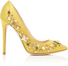 yellow Pumps - This **Gedebe** pump is rendered in satin and features a jewel embellishment and stiletto heel. Stiletto Shoes, High Heels Stilettos, Shoes Heels, Satin Shoes, Satin Pumps, Yellow Pumps, Jeweled Shoes, Embellished Shoes, Decorated Shoes