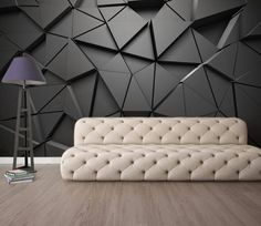 Solid Geometric Abstract Gray Triangle Background Black Design Wallpaper (With images) Wall Painting Living Room, 3d Wallpaper Living Room, Living Room Paint, Living Room Bedroom, Black Design Wallpaper, Triangle Background, Triangle Art, 3d Wallpaper Designs For Walls, Modern Interior Design