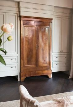 if you found an old inexpensive falling apart armoire, what do you think of doing something like this in that master bath niche? Would take some looking and probably some elbow grease on the frame but it sure gives a lot of different interest to a space.