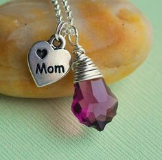 Evening Shine Mom Necklace - Purple Swarovski on Sterling Silver
