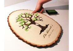 Fingerprint Tree Design: Wood slice rustic theme wedding guest books. Personalized - TheWeddingMile.com