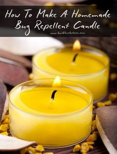 How To Make A Homemade Bug Repelling Beeswax Candle | Bulk Herb Store Blog | Keep those pesky bugs away this summer with this easy to make essential oil bug repellent candle.