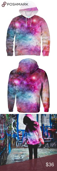 Shelfies Galaxy Hoodie Super vivid and bright galaxy hoodie from the company Shelfies. This hoodies is stunning and if it fit me I'd never let it go. New with out tags this hoodie is in perfect condition and a stellar addition to any wardrobe. Not Black Milk but similar to the vivid quality of their galaxy products so posted for visibility. ✨ Blackmilk Tops Sweatshirts & Hoodies