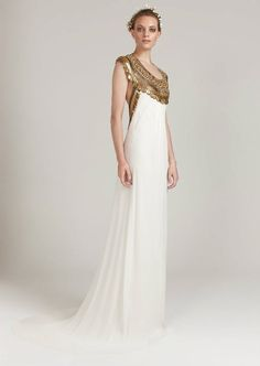 Temperley Cleopatra-style wedding gown with gold embellishments.