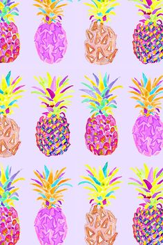 Pineapples by erinanne.  Hand painted watercolor pineapples in neon shades of pink, green, teal, red, and orange on a pink/lavendar background.  Available in fabric, wallpaper, and gift wrap.