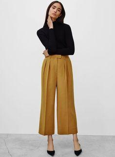 wide legged mustard gold pants