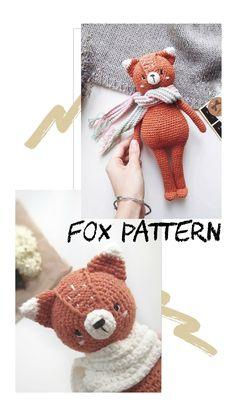 Crochet Animal Patterns, Stuffed Animal Patterns, Crochet Patterns Amigurumi, Amigurumi Toys, Stuffed Animals, Crochet Hippo, Crochet For Kids, Crochet Animals, Fox Pattern