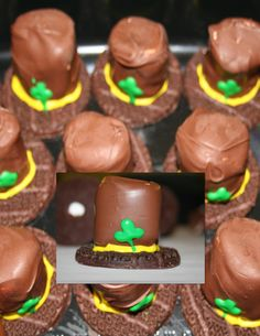 Leprechaun Hat Snacks for preschool snack. I used Keebler Fudge stripe cookies, jumbo marshmallows dipped in melted chocolate chips and writing frosting to add hat band and shamrock decoration. Class Snacks, Fun Snacks For Kids, Kids Meals, Marshmallow Dip, Marshmellow Ideas, Melting Chocolate Chips, Melted Chocolate, Fudge, Creative Snacks
