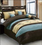 palm tree bedspread king | Pcs Luxury Embroidery Palm Tree Comforter Set Bed In A Bag King ...