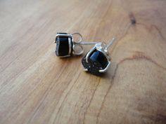 black druzy small prong set studs. $95.00, via Etsy.
