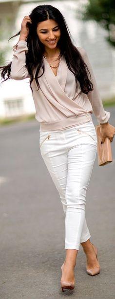 Cross Blouse, White Zip Pocket Jeans, nude heels