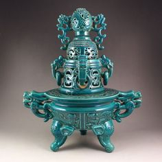 Chinese Blue Glaze Porcelain 3 Legs Incense Burner