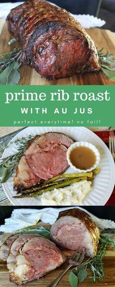 Prime Rib Roast Au Jus Perfect Every Time! No Fail Your new go-to prime rib roast recipe with au jus! It's perfect every time, no fail! Rib Roast Recipe, Prime Rib Recipe, Roast Recipes, Dinner Recipes, Cooking Recipes, Healthy Recipes, Cooking Ribs, Prime Rib Sauce, Christmas Recipes Dinner Main Courses