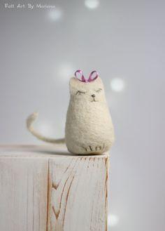 Needle Felt Cat  Dreamy White Cat With A by FeltArtByMariana