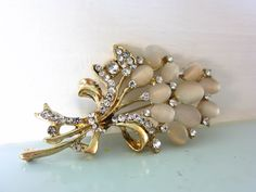 vintage brooch, mother of pearl brooch with rainbow rhinestones, gold tone and mother of pearl leaf shaped brooch by on Etsy Beautiful Bouquet Of Flowers, Pearl Brooch, Leaf Shapes, Magpie, Flower Brooch, Cottage Chic, Vintage Brooches, Bridal Accessories, Valentine Gifts