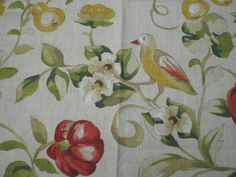 """SANDERSON CRAFT FABRIC REMNANT """"PEARS & POMEGRANATE"""" 86 X 145 CM 100% LINEN in Crafts, Sewing & Fabric, Fabric 