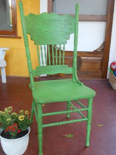 Spindle Chair Vintage Pressed Back Antique Green by ThePaintedLdy. I painted this exact chair this exact color, but mine was distressed.