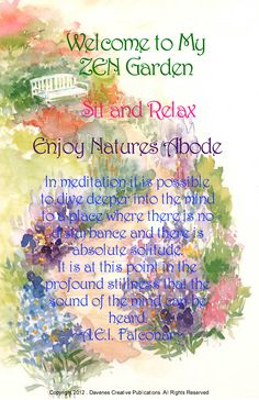 Meditation Garden, do you have one? Whether it's in your mind or tangible?