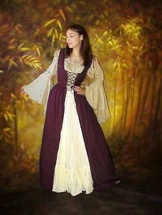 Medieval Ireland Clothing | RENAISSANCE-MEDIEVAL-Costume-Bodice-Irish-OVER-DRESS-L-XL-56-long