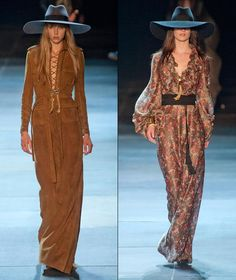 Modern bohemian: taking cues from the runway  A complete array of gorgeous wide-brimmed hats, worn exclusively over free and easy locks, styled Saint Laurent's spring 2013 collection referencing the 70s rock 'n' roll era. Moody, almost witchy in attitude, the line-up felt like a light interpretation of the bohemian trend, reveled especially in the big, floppy hats, suede outfits and sophisticated maxi dresses accessorized to perfection.