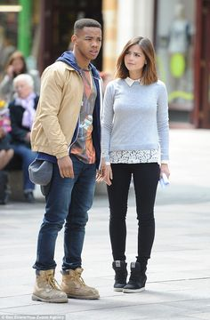 Brit talent: Joivan, who was also dressed casually in jeans and boots, shared some scenes with Jenna