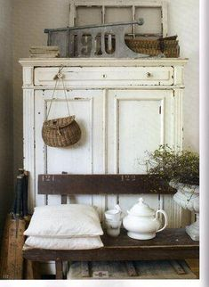 White Farmhouse Cupboard... ( Lovely touches, the old window and the Teapot and…