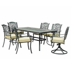 Sunjoy Beige/Bisque Louise Aluminum Steel Slate Fabric 7-Piece Dining Set with Slate Table-L-DN1254SAL-A - The Home Depot
