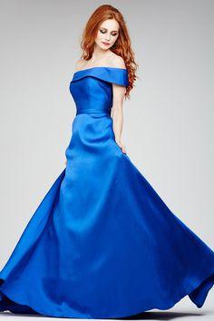 Blue Off the Shoulder Gown 31516 - Evening Dresses