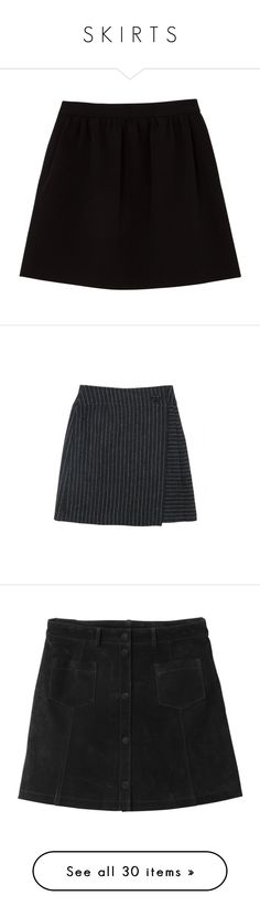 """S K I R T S"" by kyla-perez-santiago ❤ liked on Polyvore featuring skirts, bottoms, saias, black, knee high skirts, wide skirt, comptoir des cotonniers, knee length skirts, zipper skirt and faldas"