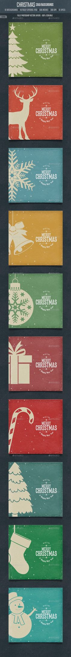 Vintage Christmas Square Cards / Backgrounds PSD #design Download: http://graphicriver.net/item/vintage-christmas-square-cards-backgrounds/9602298?ref=ksioks