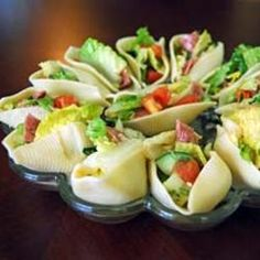 "Salad Stuffed Shells | ""Great idea! A fun and delicious way to serve salad. Serve in a deviled egg tray for a nice presentation."" http://allrecipes.com/recipe/salad-stuffed-shells/Detail.aspx"
