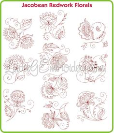 Jacobean+Embroidery | Jacobean Redwork Florals [lgs019] - $39.95 : Lindee G Embroidery ...