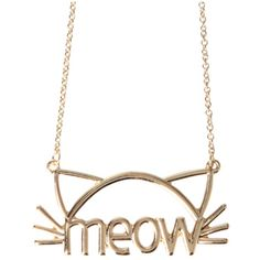 LOVEsick Meow Cat Necklace | Hot Topic ($6.38) ❤ liked on Polyvore featuring jewelry, necklaces, cat jewelry, cat necklace, gold tone necklace and gold tone jewelry