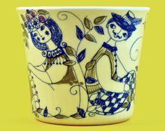 Vintage Figgjo Flint Turi-Design Lotte Pattern Cup, Handpainted Silkscreen, Norway, Scandinavian