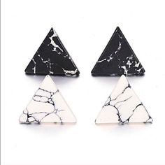 Triangle marble earrings I only have black. Please do not ask for white. Wila…
