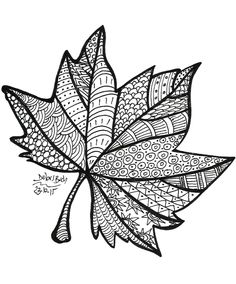 Free printable fall leaf coloring page Doodle Art Drawing, Zentangle Drawings, Mandala Drawing, Art Drawings Sketches, Zentangles, Drawing Ideas, Leaf Coloring Page, Fall Coloring Pages, Coloring Books