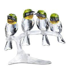Swarovski Bee Eaters - 4 Vibrantly Colored Bee Eaters Birds.  Swarovski Crystal Figurine.
