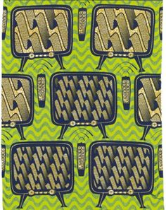 African wax block print fabric televisions & remotes motif
