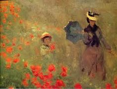 Monet- love this painting. My Parents had it hanging in their home as long as I can remember. My Mom would make up stories about where the two people were going.