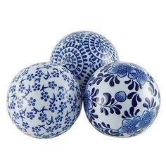 esferas de decoracion en ceramica blanca y azul x3 okko