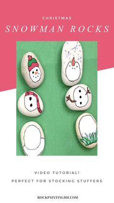 These snowman painted rocks will make amazing gifts this holiday season! Mix and match them for a fun game that kids will love to play with! Rock Painting Patterns, Rock Painting Ideas Easy, Painting For Kids, Make A Snowman, Cute Snowman, Snowmen, Christmas Rock, Christmas Snowman, Christmas Things