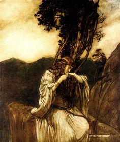 """""""Brünnhilde Kisses the Ring"""" (1911) - Arthur Rackham"""