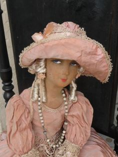Antique French Boudoir Doll Paris RARE Felt Hat FASHION1900