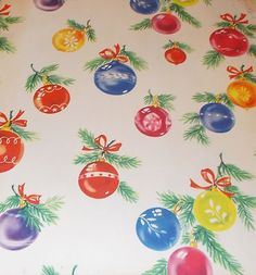 VTG CHRISTMAS WRAPPING PAPER GIFT WRAP MID CENTURY GORGEOUS ORNAMENTS 1940s