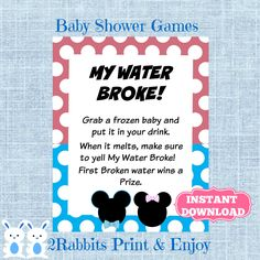 "Planning on a gender  reveal baby shower and Disney theme is in? Mickey and Minnie on this wonderful game ""My Water Broke!"" , easy to download !!! #babyshowergames #etsypartyshop #partydigitalfiles"