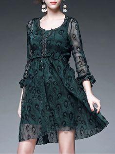 Ruffled Beaded Mini Dress